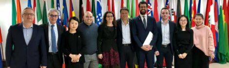 Former Prime Minister Matteo Renzi visits the Galileo Galilei Italian Institute